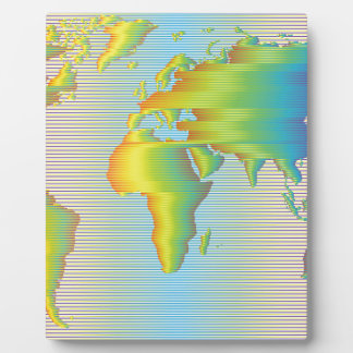 World map of rainbow bands photo plaque