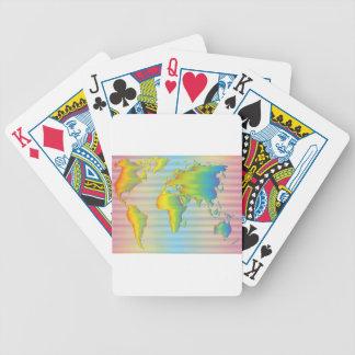 World map of rainbow bands poker deck
