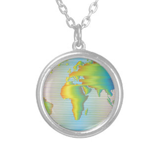World map of rainbow bands silver plated necklace
