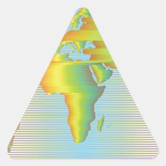 World map of rainbow bands triangle sticker