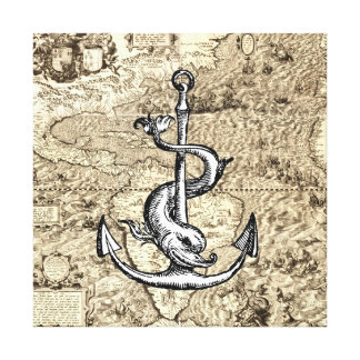 World Map of the Americas with Anchor and Dolphin Canvas Print
