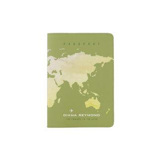 world map olive green travel passport holder