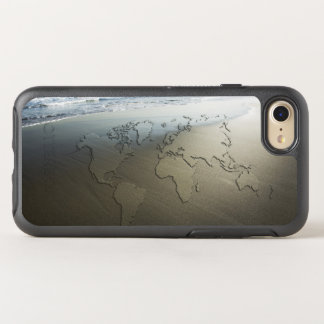 World map on sand OtterBox symmetry iPhone 7 case
