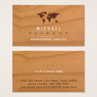 world map on wood elegant business card