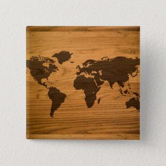 World Map on Wood Grain 15 Cm Square Badge