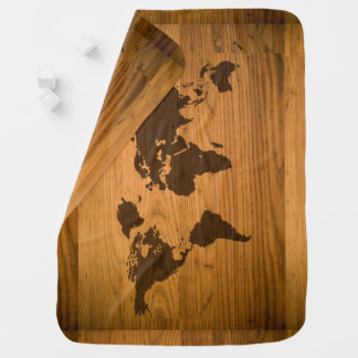 World Map on Wood Grain Baby Blanket