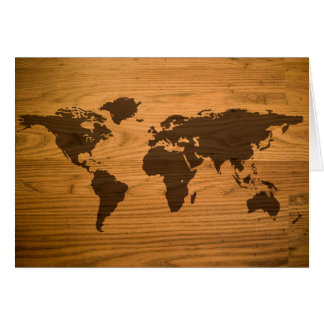 World Map on Wood Grain Card
