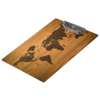 World Map on Wood Grain Clipboard