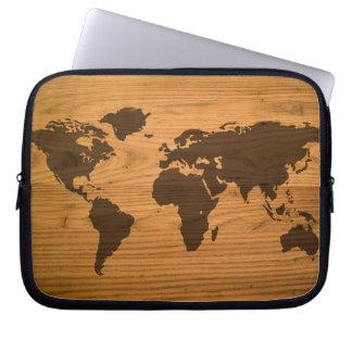 World Map on Wood Grain Computer Sleeve