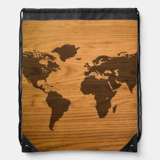 World Map on Wood Grain Drawstring Bag