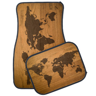 World Map on Wood Grain Floor Mat