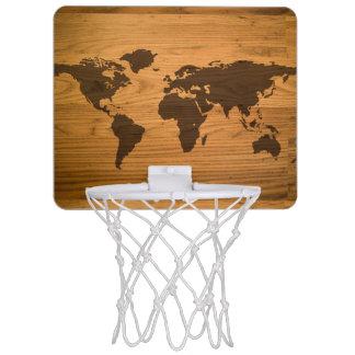World Map on Wood Grain Mini Basketball Hoop