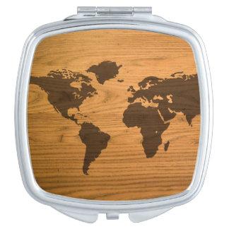 World Map on Wood Grain Travel Mirror
