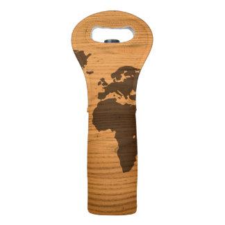 World Map on Wood Grain Wine Bag