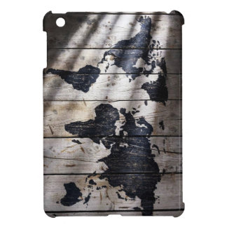 World map on wood texture case for the iPad mini