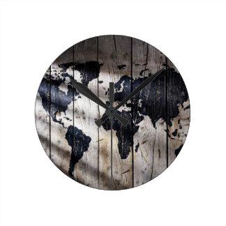 World map on wood texture round clock