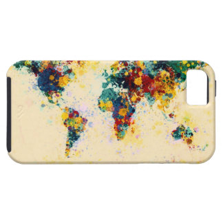 World Map Paint Splashes Case For The iPhone 5