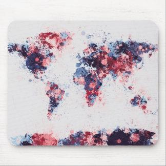 World Map Paint Splashes Mouse Pad