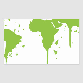 World Map Painted Green Graffiti Rectangular Sticker