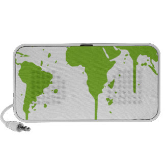 World Map Painted Green Graffiti Laptop Speakers