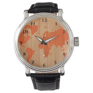 World Map Pattern Wristwatch
