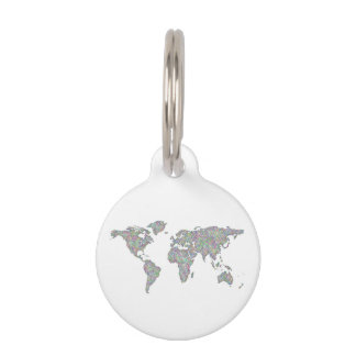 World map pet name tag