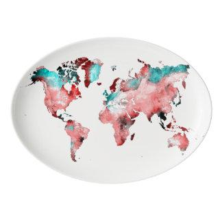world map platter