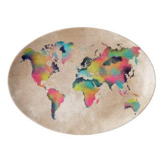 world map Porcelain Coupe Platter