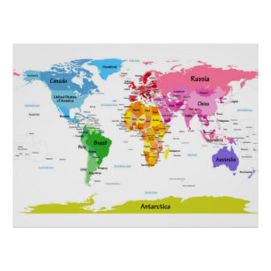 Kids world map posters posters photo prints zazzle au world map poster gumiabroncs Image collections