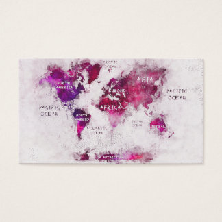 world map purple white business card