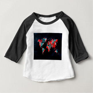 world map red black baby T-Shirt