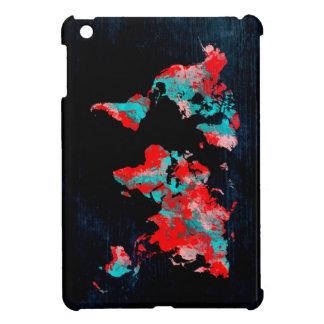 world map red black iPad mini case