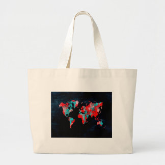 world map red black large tote bag