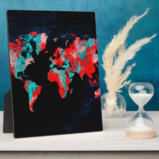 world map red black plaque