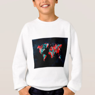 world map red black sweatshirt