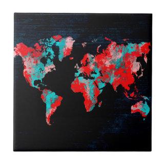 world map red black tile