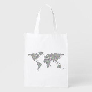 World map reusable grocery bag