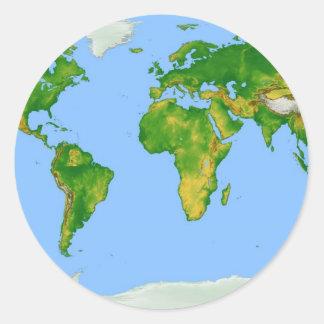 World Map Round Sticker