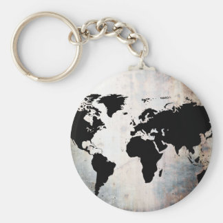World Map Rusted Metal Key Ring