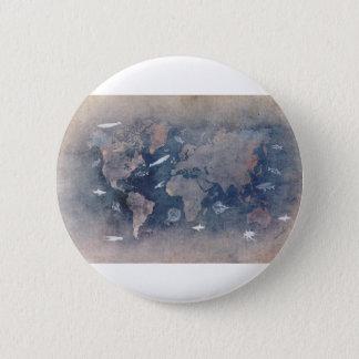world map sealife 6 cm round badge