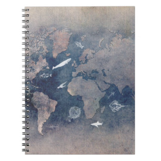world map sealife notebook