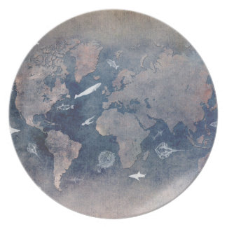 world map sealife plate