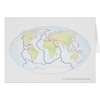 World map showing plate margins card
