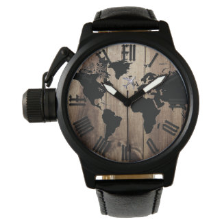 world map silhouette and wood watch