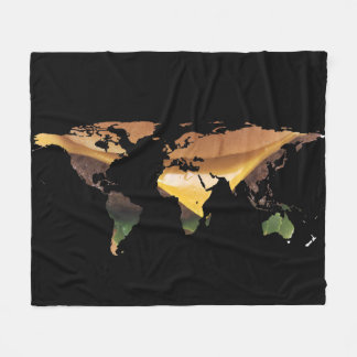 World Map Silhouette - Cheeseburger Fleece Blanket