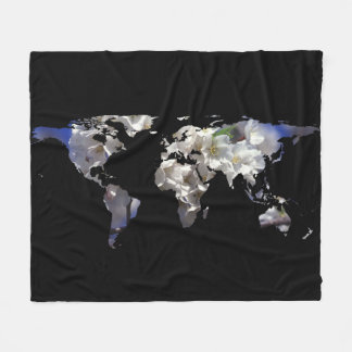 World Map Silhouette - Cherry Blossoms Fleece Blanket