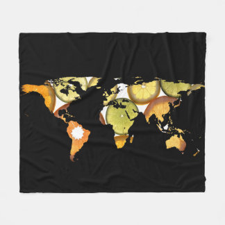 World Map Silhouette - Citrus Fruits Fleece Blanket