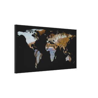 World Map Silhouette - Coastal Trees Painting Canvas Prints