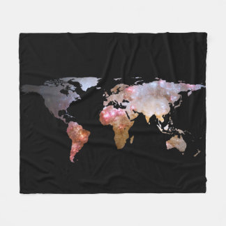 World Map Silhouette - Galaxy Fleece Blanket