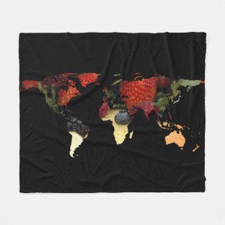 World Map Silhouette - Mixed Fruit Fleece Blanket